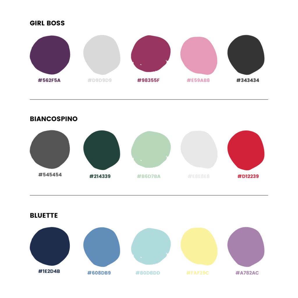 Palette colori Instagram - armocromia Inverno